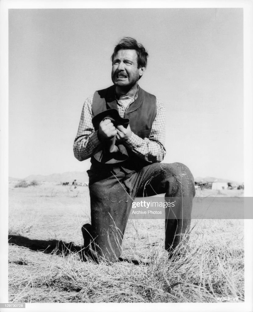 Futility is expressed by Arthur O'Connell in a scene from the film 'Cimarron', 1960.