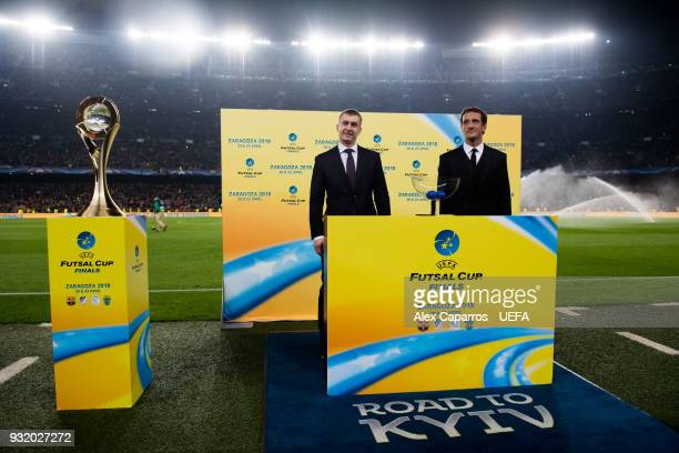 Futsal Beach Soccer Committee Aleksandr Alaev and Juliano Belletti conduct the UEFA Futsal Cup Finals Zaragoza 2018 draw during the halftime of the...