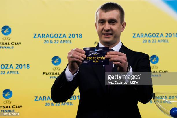 Futsal Beach Soccer Committee Aleksandr Alaev shows the name of Eto FC Gyor during the UEFA Futsal Cup Finals Zaragoza 2018 draw during the halftime...