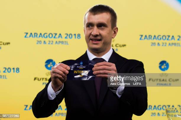 Futsal Beach Soccer Committee Aleksandr Alaev shows the name of Inter FS during the UEFA Futsal Cup Finals Zaragoza 2018 draw during the halftime of...