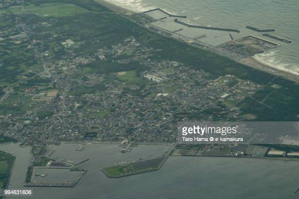 Futtsu cape in Chiba prefecture in Japan daytime aerial view from airplane