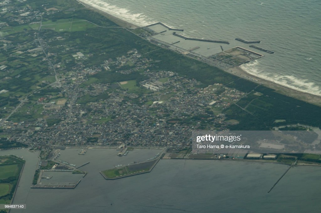 Futtsu cape in Chiba prefecture in Japan daytime aerial view from airplane : ストックフォト