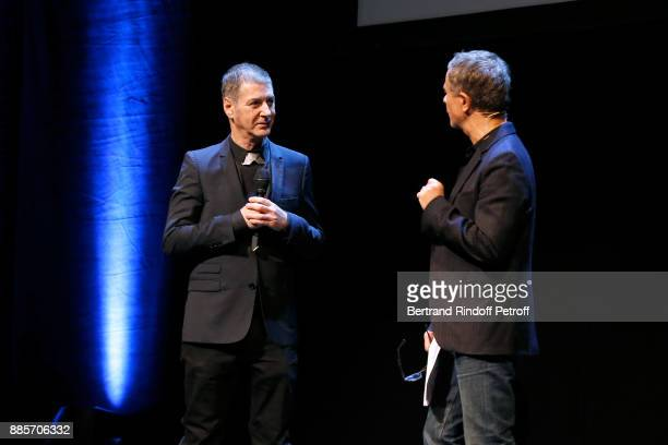 Futur Director of the 'Jeanne Moreau Foundation' singer Etienne Daho and Host of the event Laurent Goumarre attend the Tribute to Actress Jeanne...