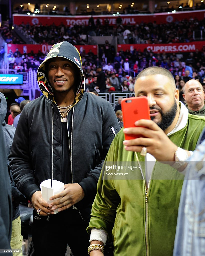 Future (L) and DJ Khaled attend a basketball game between the Miami Heat and the Los Angeles Clippers at Staples Center on January 13, 2016 in Los Angeles, California.
