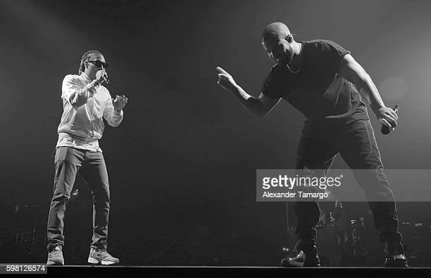 Future and Drake are seen performing on stage during his Summer Sixteen Tour at AmericanAirlines Arena on August 30 2016 in Miami Florida