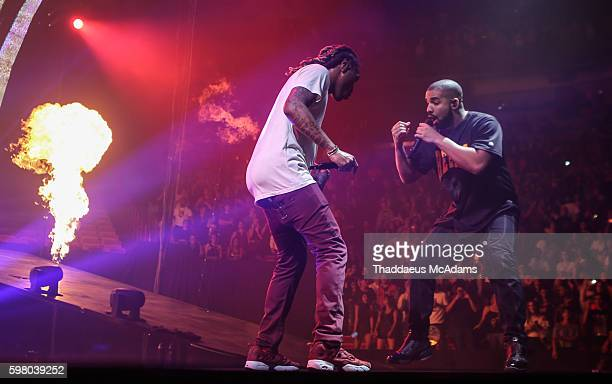 Future and Drake performing on stage during The Summer Sixteen Tour at AmericanAirlines Arena on August 30 2016 in Miami Florida