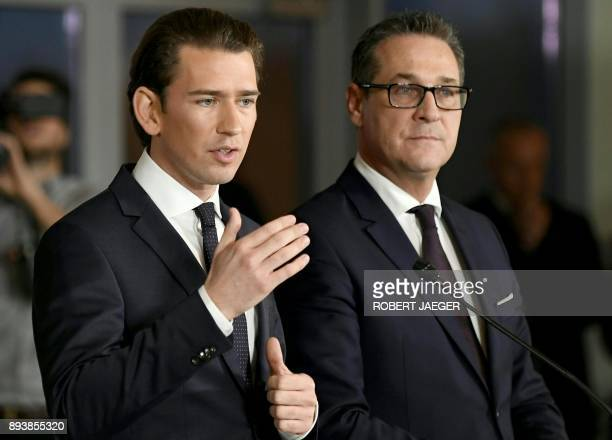 Future Austrian Chancellor Sebastian Kurz of the conservative People's Party and incoming vicechancellor HeinzChristian Strache of the farright...