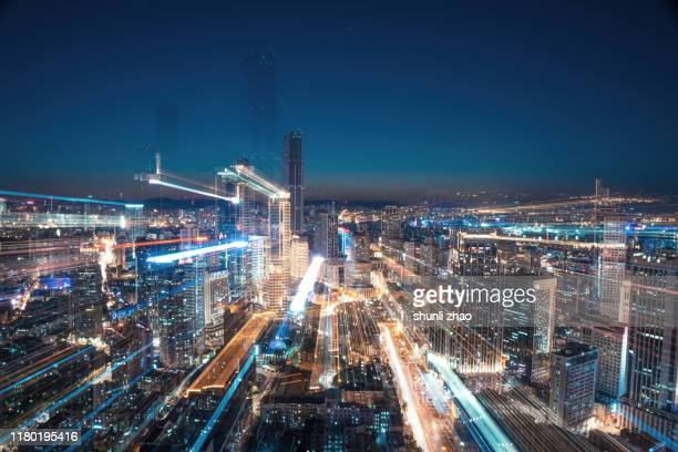 future cities, big data - big tech stock pictures, royalty-free photos & images
