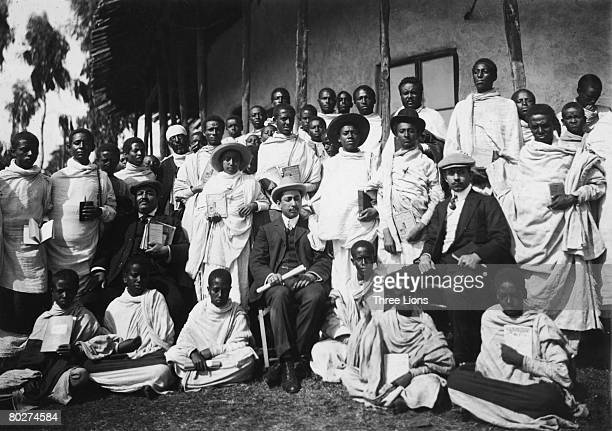 Future Emperors of Ethiopia Haile Selassie I and Iyasu V at school in Harar circa 1905 Haile Selassie is standing to the right marked with one cross...