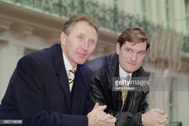 Future England manager Glenn Hoddle and Howard Wilkinson pictured together outside Lancaster Gate in January 1996 in London, England.