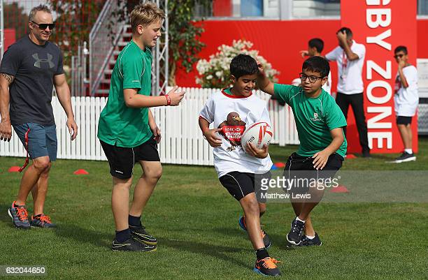 Future Falcons play touch rugby in the Championship Village during day one of the Abu Dhabi HSBC Championship at Abu Dhabi Golf Club on January 19...
