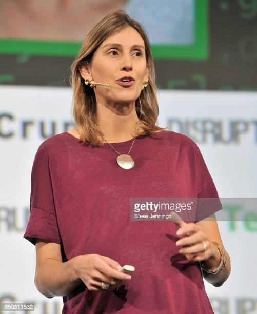 Future Family CoFounder and CEO Claire Tomkins participates in the Startup Battlefield finals during TechCrunch Disrupt SF 2017 at Pier 48 on...