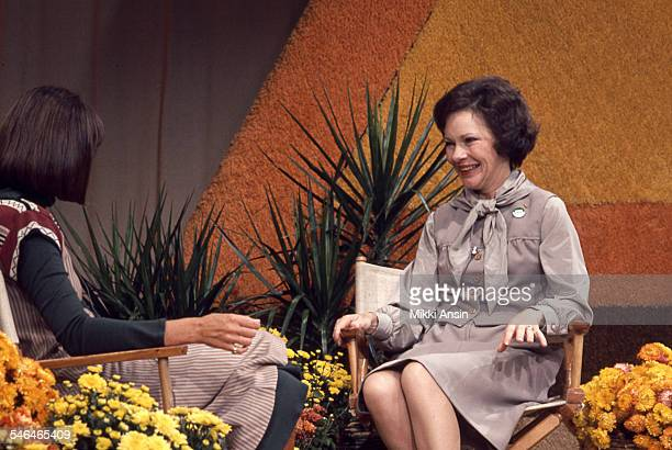 Future First Lady Rosalynn Carter appears on an unidentified television program in support of her husband Jimmy Carter's Presidential campaign Boston...