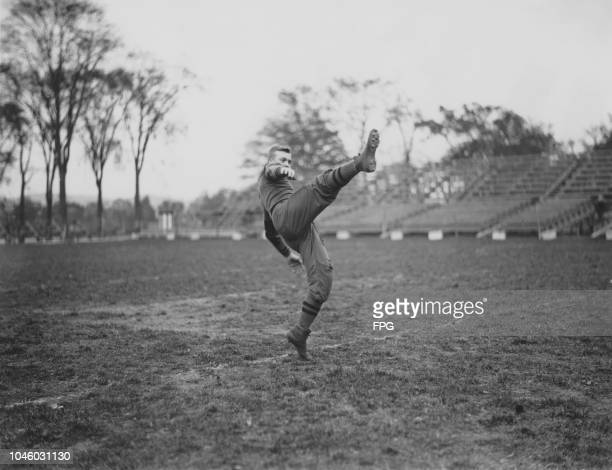 Future general and US President, Dwight D. Eisenhower on the football field during his time as a military cadet at West Point Academy, New York, 1912.