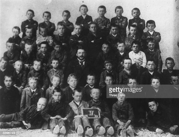 Future German dictator Adolf Hitler with his fellow pupils at school in Lambach Austria
