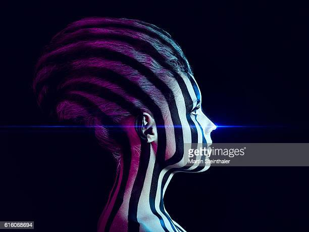 future girl with black and white stripes - animal body part stock pictures, royalty-free photos & images