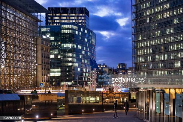 A 'Future is Europe' graffiti is seen next to the Berlaymont building European Commission headquarter and the Europa building Council of the European...
