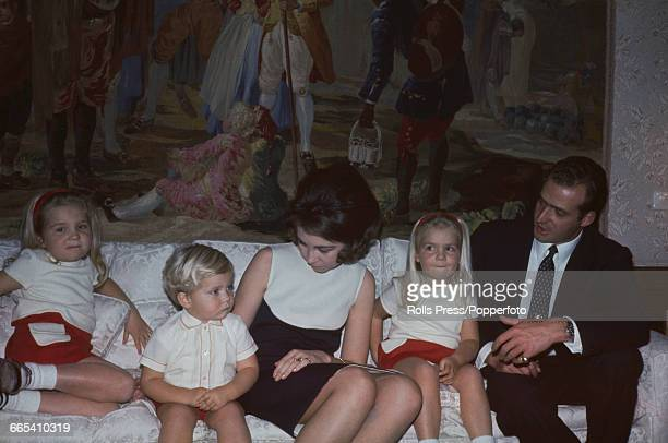 Future King Juan Carlos I of Spain pictured together with his wife Princess Sofia of Spain and their children Infantas Elena and Cristina and son...