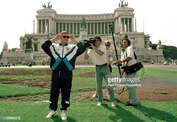 Future Lazio player Paul Gascoigne is followed by cameras on his first visit to Rome after his proposed move from Tottenham Hotspur on August 1 1991...