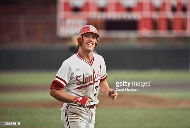 Future NFL quarterback John Elway of Stanford University competes in an NCAA baseball game played at Sunken Diamond stadium in April 1981 in Palo...