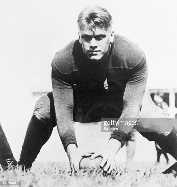 Future president Gerald Ford pictured during his time at the University of Michigan as the center of the Wolverines football team