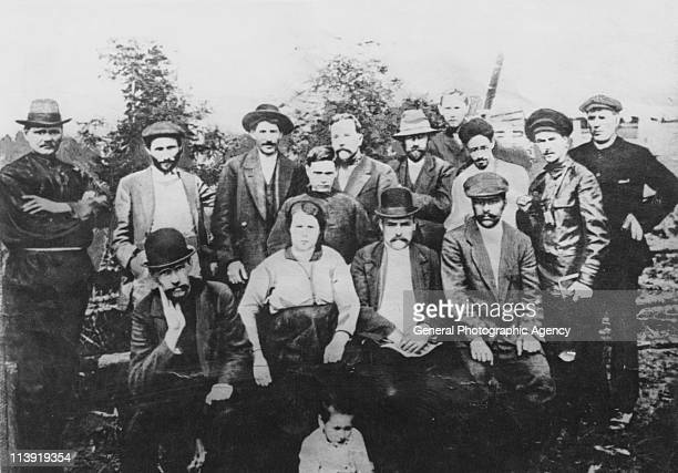 Future Soviet dictator Joseph Stalin with a group of Bolshevik revolutionaries in Turukhansk Russia 1915 From left to right unknown Suren Spandaryan...
