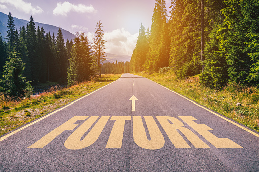 Future text on road against asphalt background in nature. 923413656