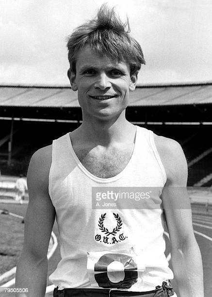 Future writer and politician Jeffrey Archer competes in athletics whilst at Oxford University, 7th May 1966. He is wearing a vest with the logo of...