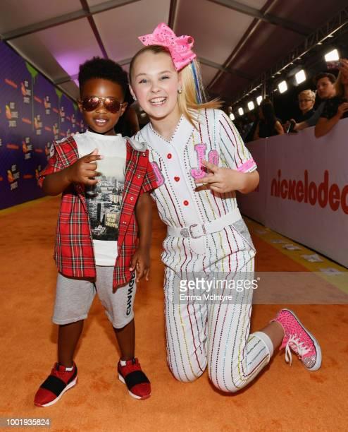 Future Zahir Wilburn and JoJo Siwa attend the Nickelodeon Kids' Choice Sports 2018 at Barker Hangar on July 19 2018 in Santa Monica California