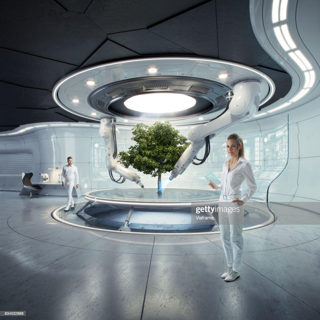 Futurelab models and tree : Stock Photo