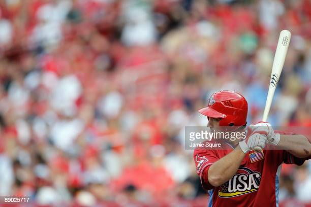 Futures All-Star Brett Wallace of the St. Louis Cardinals bats during the 2009 XM All-Star Futures Game at Busch Stadium on July 12, 2009 in St....