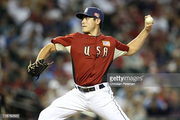 Futures All-Star Matt Moore of the Tampa Bay Rays on the mound during the 2011 XM All-Star Futures Game at Chase Field on July 10, 2011 in Phoenix,...
