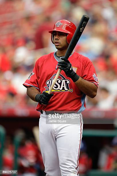 Futures All-Star Pedro Alvarez of the Pittsburgh Pirates steps to the plate during the 2009 XM All-Star Futures Game at Busch Stadium on July 12,...