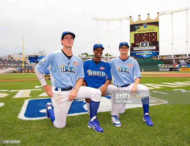 Futures Game AllStars Wil Myers Yordano Ventura and Jake Odorizzi of the Kansas City Royals pose for a group photo during batting practice before the...