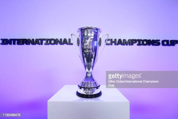 Futures players trophy is seen during the 'ICC Futures Launch' panel during day three of the International Champions Cup launch event at 107 Grand on...