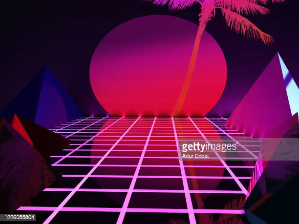 futuristic 3d render retro style with geometries, neon colors and big dusk sun. - dancing stockfoto's en -beelden