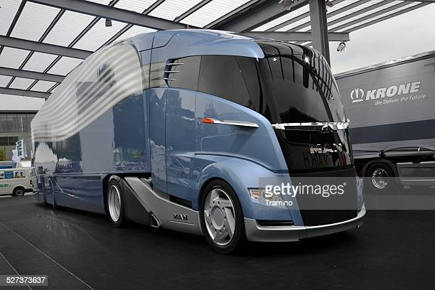 Futuristic aerodynamic truck on the motor show