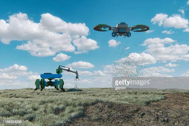 machines agricoles futuristes - drone photos et images de collection