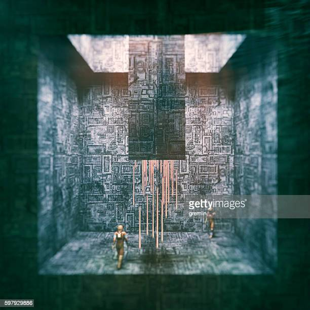 futuristic alien environment with astronauts - uranium stock pictures, royalty-free photos & images