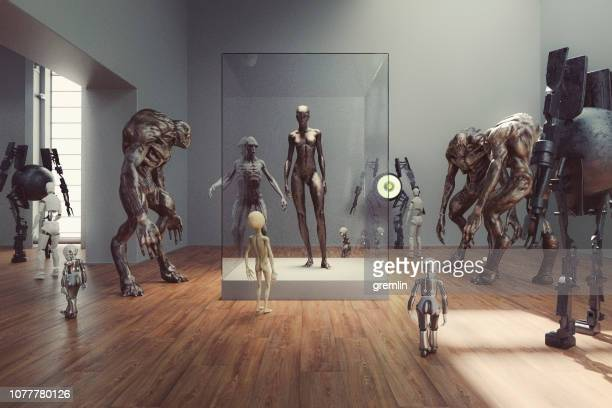 futuristic alien museum with homo sapiens exhibition - museum stock pictures, royalty-free photos & images