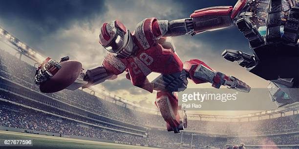 Futuristic American Football Robot Running With Ball During Game