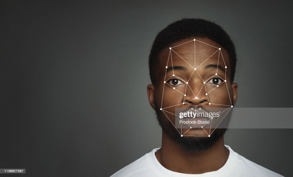 Futuristic and technological scanning of face for facial recognition : Stock Photo