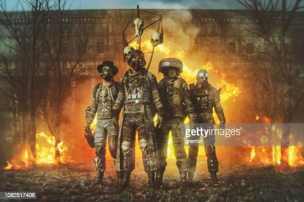 futuristic apocalypse mercenaries - paramilitary stock photos and pictures