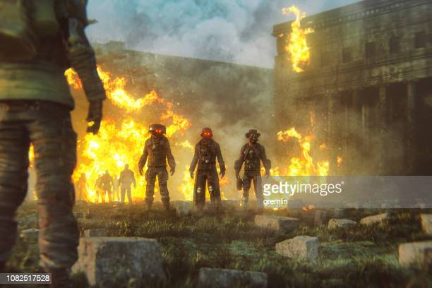 futuristic apocalypse mercenaries - war stock pictures, royalty-free photos & images