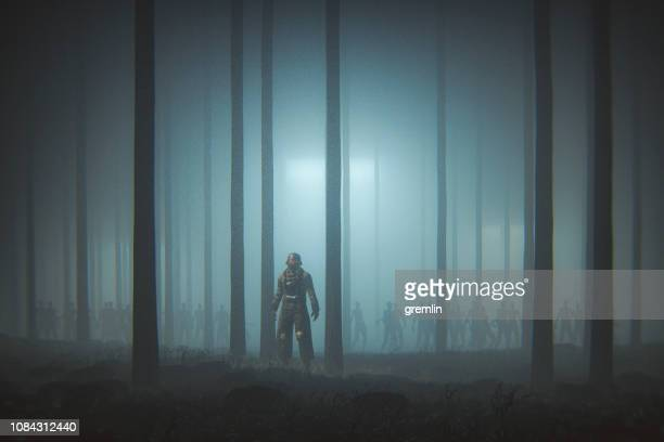 futuristic apocalypse soldier with zombie army - war stock pictures, royalty-free photos & images