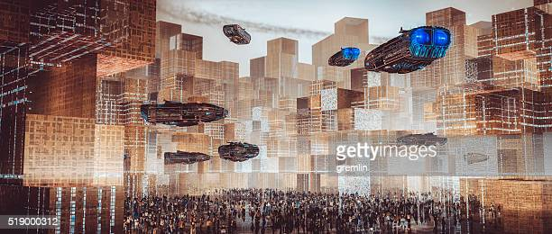 futuristic architectural cityscape concept - space travel vehicle stock pictures, royalty-free photos & images