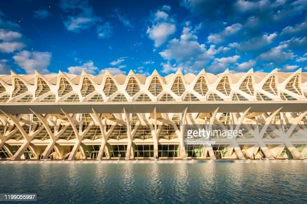 arquitectura futurista reluciente en la ciudad del sol de las artes de ciencias de valencia - valencia fotografías e imágenes de stock