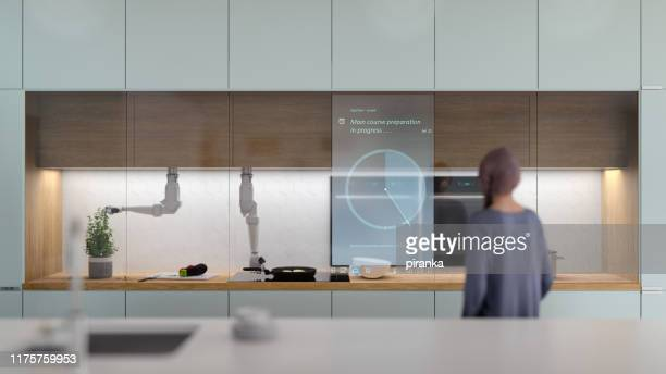 futuristic automated kitchen - clocks go forward stock pictures, royalty-free photos & images