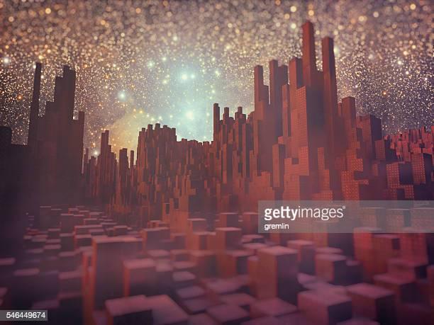 Futuristic block shaped cityscape on alien planet