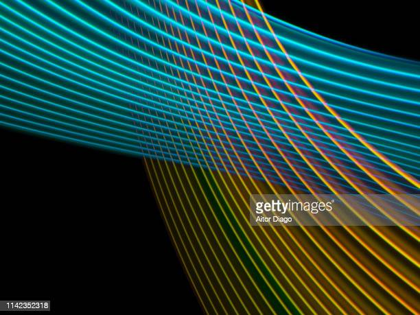 futuristic blue curved and golden lines interlaced. virtual environment. 3d. - lineart stock-fotos und bilder